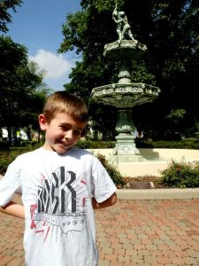 kid with fountain