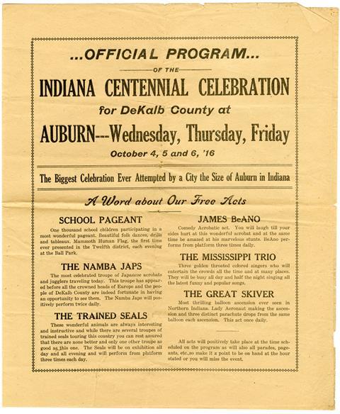 1916 Centennial Program
