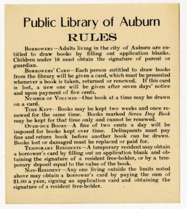 Auburn Public Library Rules