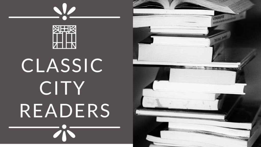 Facebook image for the Classic City Reader's Book Club, with books in black and white on the right