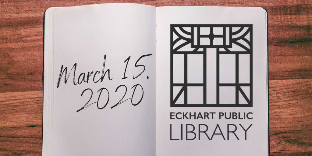 A book with the main library logo and the main library's opening date: March 15, 2020